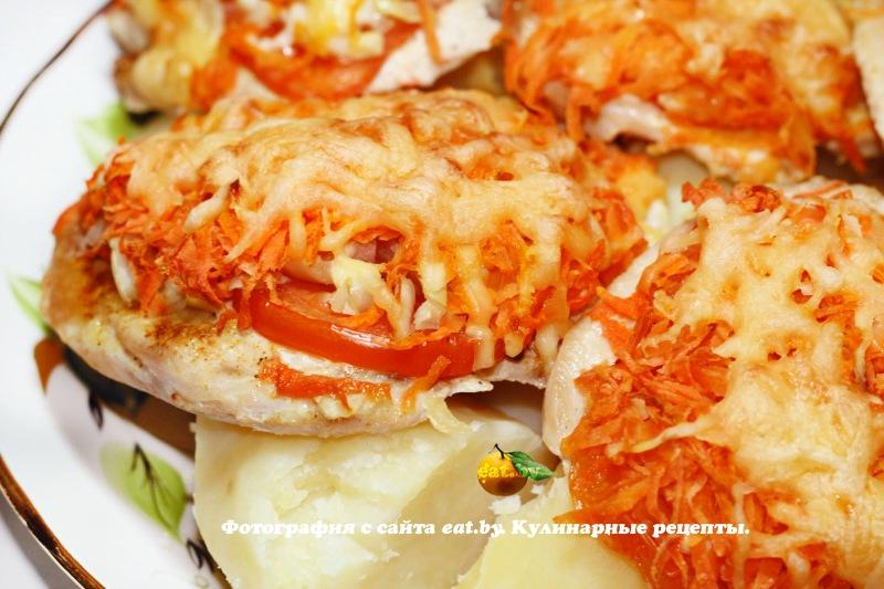 отбивные из куриного филе в духовке с сыром и помидорами рецепт