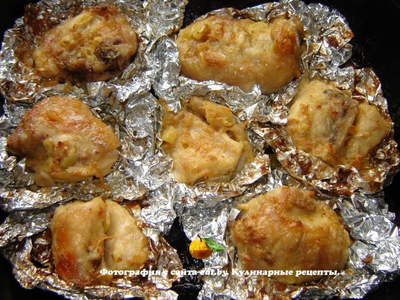 курица в фольге кусочками в духовке рецепт с фото