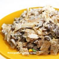 Салат с блинчиками и грибами