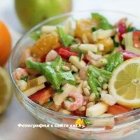 Хрустящий салат с креветками и апельсинами