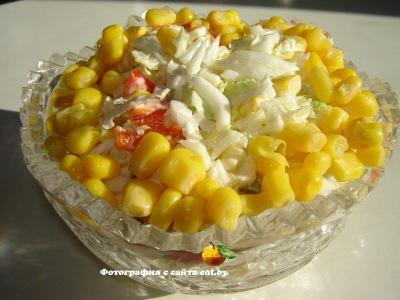 фото Салат с пекинской капустой и кукурузой