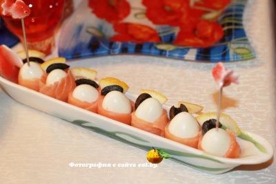 фото Перепелиные яйца, завернутые в семгу