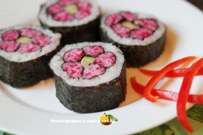 фото Кадзари-суши «Розовая хризантема»