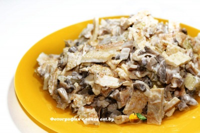 фото Салат с блинчиками и грибами