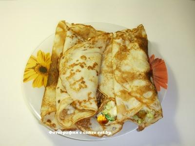 Блинчики с плавленным сыром и капустой